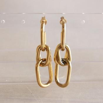 Ohrhänger mit 3 Romben, gold