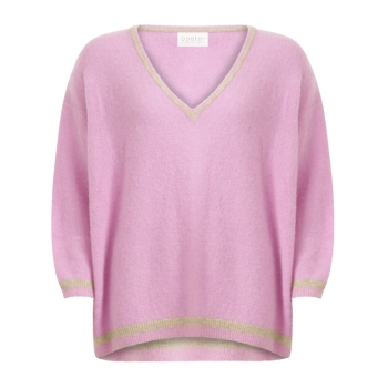 Coster Copenhagen, Sweater with v-neck and contact stripe, bubble gum