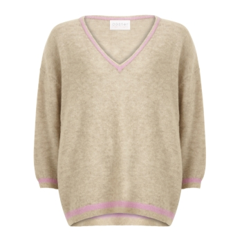 Coster Copenhagen, Sweater with v-neck and contact stripe, hazel