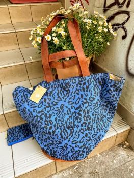 Mycha Ibiza, Big Shopper leopard dunkelblau