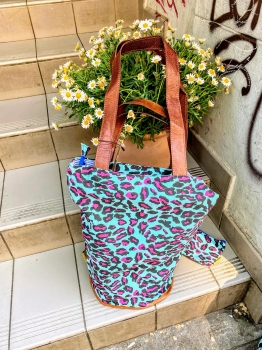Mycha Ibiza, Shopper leopard türkis