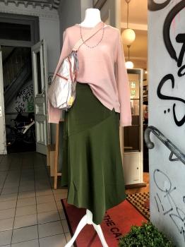 Coster Copenhagen, Skirt with bias cut in sateen quality, dark forest