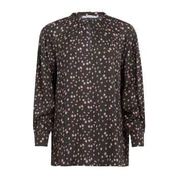 Coster Copenhagen, Blouse in moon print with balloon sleeves