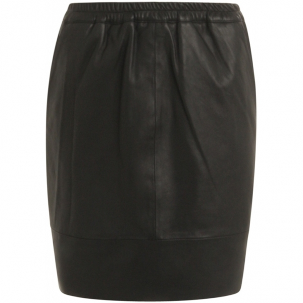 Coster Copenhagen, Skirt in leather with elastic in waist, black